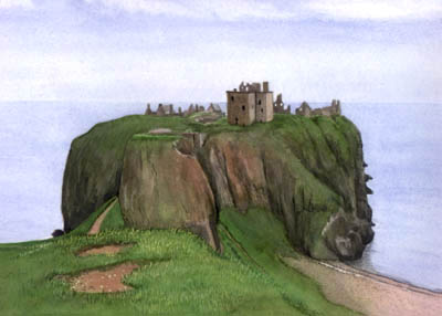 Animal Portraits and Landscape Paintings from Photos - Dunnottar Castle, Scotland in Watercolours