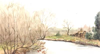 Pet Portraits - Animal Portraits from Photos of Your Favourite Scene - River at Ashow Village, England - Watercolours