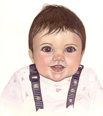 Pet Portraits - People Paintings from YOUR own photos  - Baby Boy in Watercolours